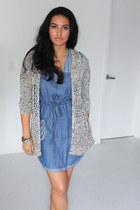 blue denim Forever 21 dress - heather gray Zara cardigan