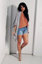 heather gray Michael Kors sweater - orange H&M shirt - light blue thrifted short