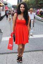 red skater Zara dress - black quilted Ardene purse