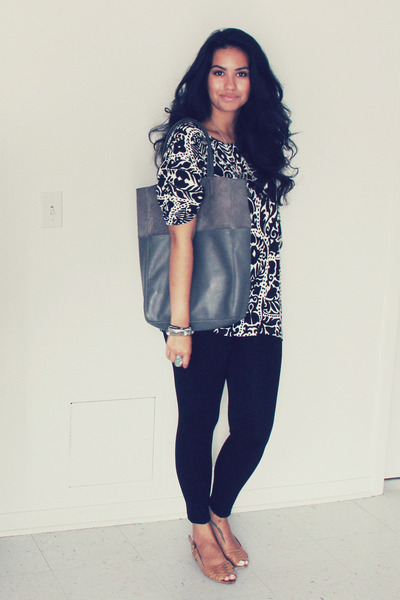 black H&M top - black Zara leggings - silver suede tote H&M bag
