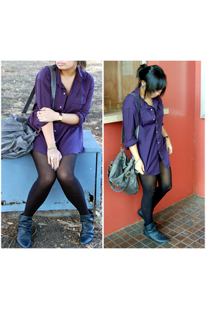 purple vintage thrifted blouse - black leather vintage from Ebay boots