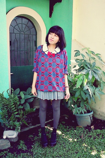 tribal sweater - double collar top