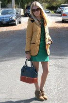 green H&M shirt - gold quilted asos jacket - navy colorblocked asos bag