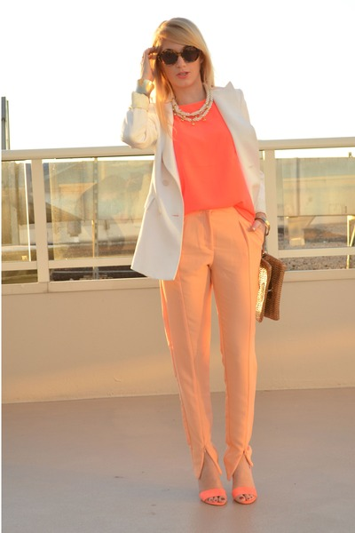 hot pink H&M top - white wide lapel Zara blazer - gold straw Gap bag