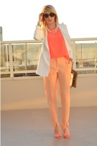 peach zip front H&M Trend pants - white wide lapel Zara blazer