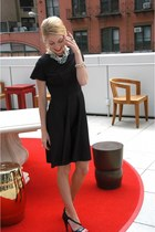 black handmade dress - silver banana republic necklace - black Zara heels