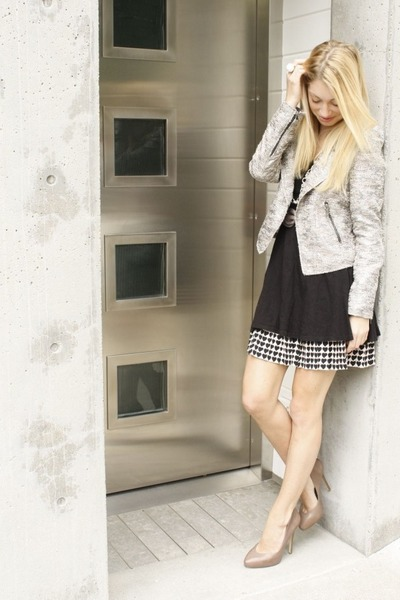 silver Zara jacket - black knit H&M dress - dark gray heart print Zara skirt