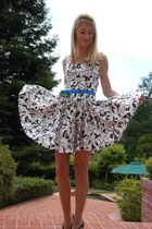 white flowered homemade dress - blue ribbon homemade belt - black Zara heels