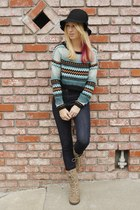 teal tribal H&M sweater - tan combat boots Mia boots