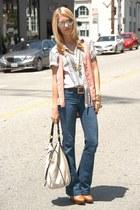 striped Gap shirt - Zara boots - Gap jeans - aviator vintage sunglasses