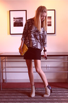 beige color-blocked H&M boots - black tribal print H&M sweater - yellow leather
