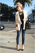 off white asymmetrical H&M blazer - blue madewell jeans - black Gap shirt