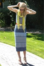 blue striped asos dress - yellow striped Forever21 scarf - ruby red leather vint