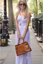 white maxi dress Topshop dress - brown ostrich leather unknown bag