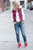 blue boyfriend Forever 21 jeans - magenta varsity Forever 21 jacket