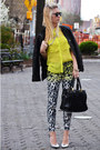 Black-leather-gap-jacket-yellow-lace-zara-shirt