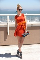 orange wrap Zara belt - carrot orange knit Forever 21 dress