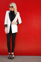 black Forever 21 blazer - white double-breasted Zara blazer