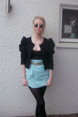 blue vintage skirt - black original jacket