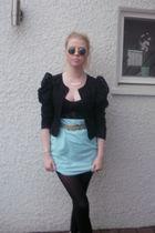 blue vintage skirt - black original jacket