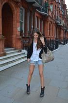 black Zara blazer - ASH boots - balenciaga bag - white Wildfox t-shirt
