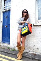 light yellow Celine bag - camel Minnetonka boots - Primark shorts