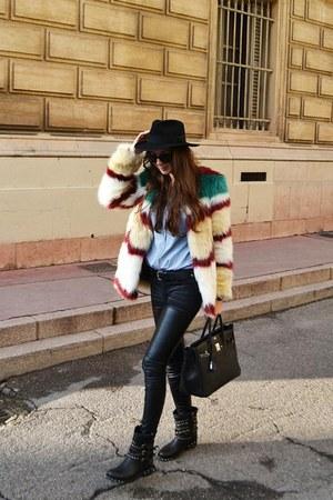 faux fur Scotch&Soda coat - leather ASH boots - Hermes bag