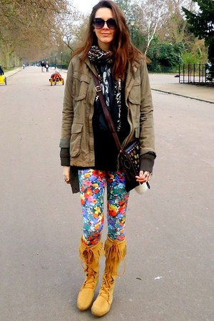 tawny Minnetonka boots - H&M jacket - H&M leggings