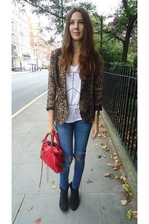 Zara blazer - River Island boots - balenciaga bag - wildfox couture t-shirt