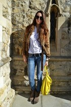 yellow balenciaga bag - Mango jeans - Zara jacket