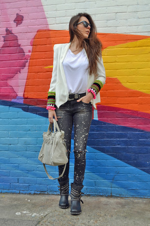 bless the mess jacket - ASH boots - Zara jeans - balenciaga bag