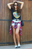 Chanel bag - Mango shirt - Primark shorts - Chanel flats - H&M t-shirt