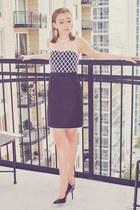 black Diane Von Furstenberg dress - white The Shopping Bag earrings