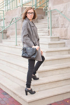 dark brown tweed Peter Som coat - black rag & bone jeans - black kate spade bag