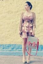 floral corset top - striped bag bag - floral skirt skirt - cardigan cardigan