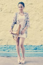 bag - sequined dress dress - cardigan - heels