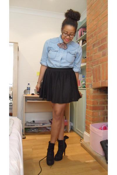 Black Skater Miss Selfridge Skirts Light Blue Denim