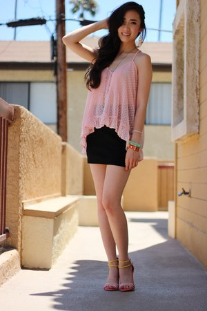 light pink Forever21 top - black Metropark skirt - bubble gum asos sandals
