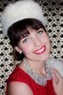 Ruby-red-lace-london-times-dress-white-vintage-fur-hat