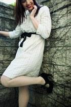 cream Go dress - black belt - black heels - cream Forever 21 tights