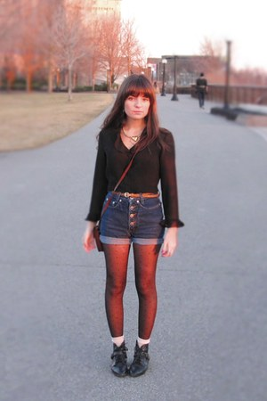 thrifted boots - thrifted diy shorts - thrifted blouse