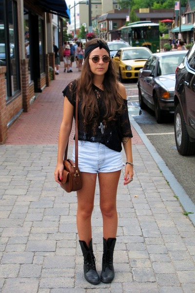 black thrifted boots - tawny thrifted purse - cut off thrifted shorts