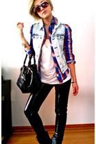 blue Forever21 vest - Urban Outfitters shirt - white H&M t-shirt - black Forever