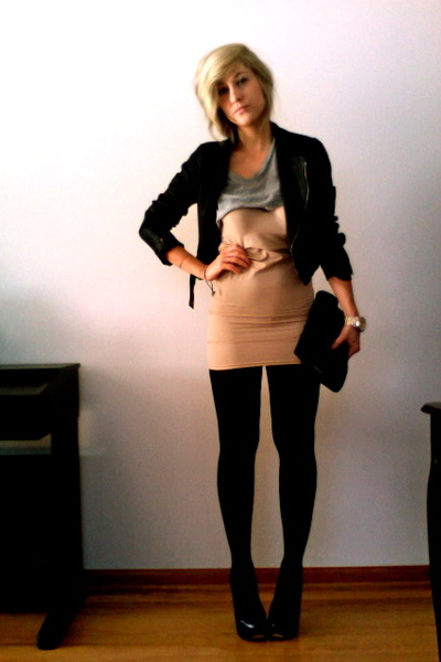 beige H&M dress - black Forever21 jacket - black Aldo shoes
