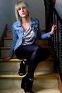 Blue-h-m-jacket-black-american-apparel-leggings-gray-forever21-shirt