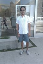 white Barton Perreira sunglasses - white H&M shirt - blue H&M shorts - silver Pr
