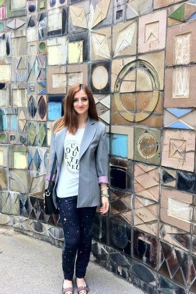 periwinkle Mango jacket - blue H&M jeans - dark gray Lolypops flats