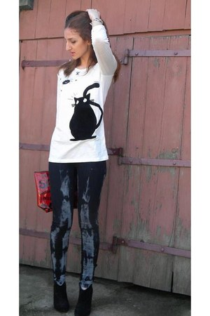 white Local store blouse - charcoal gray vintage jeans - red Local store bag