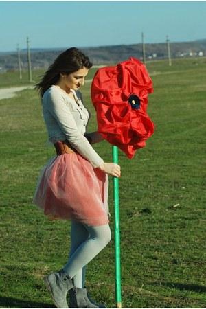 heather gray Local store boots - bubble gum handmade skirt