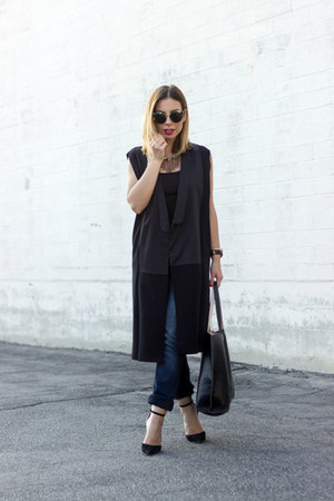 black Zara vest - navy jeans Maurices jeans - white black and white Schutz heels
